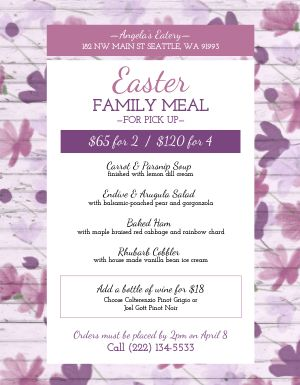 Wood Easter Menu
