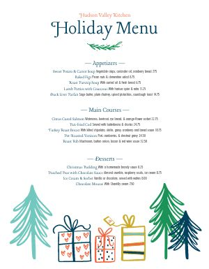 Christmas Holiday Dinner Menu