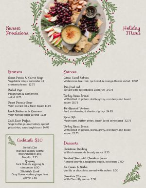 Christmas Crackers Menu