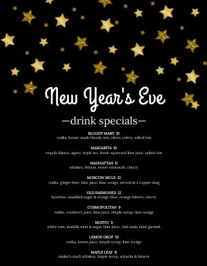 Starry New Years Menu