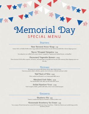 Memorial Day Special Menu