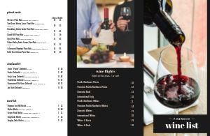 Beautiful Wine List Folded Menu