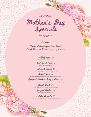 Pink Mothers Day Menu