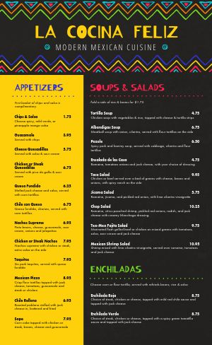 Mexican Rainbow Menu