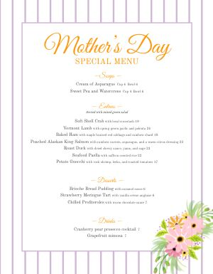 Customizable Mothers Day Menu