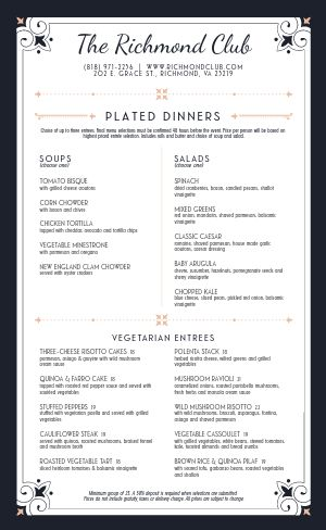 Club Catering Menu