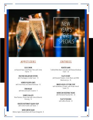 Bold New Years Menu