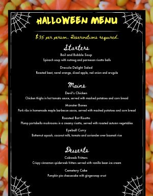 Halloween Candy Corn Menu