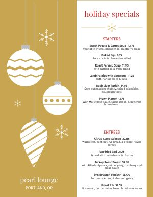 Christmas Ornament Menu