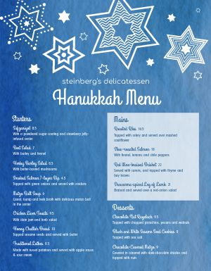 Starry Hanukkah Menu