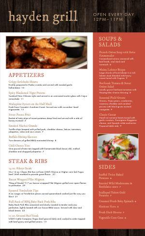 Steakhouse Eatery Menu