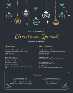 Cafe Christmas Menu