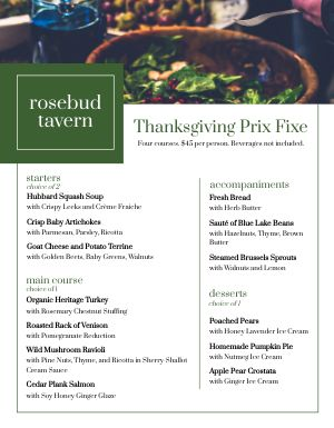 Thanksgiving Set Menu