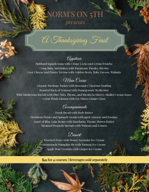 Fresh Thanksgiving Menu