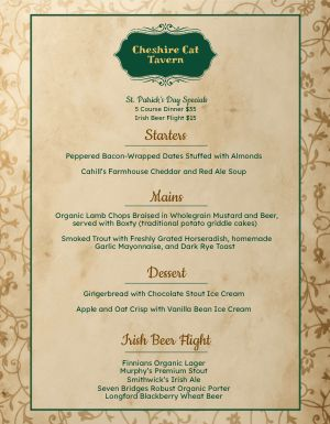 St Patricks Day Tavern Menu