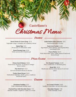 Christmas Winter Menu