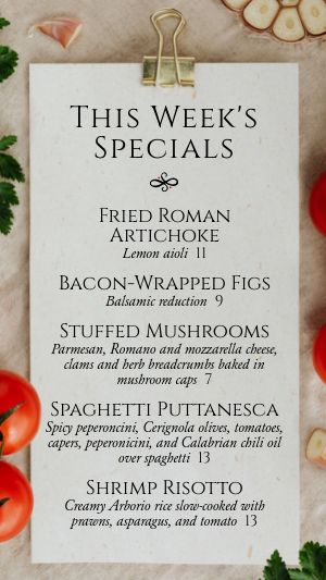 Weekly Specials Instagram Story