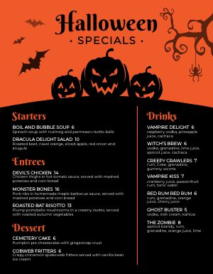 Pumpkin Halloween Menu