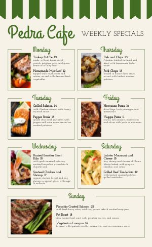 Cafe Daily Specials Menu