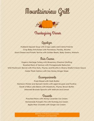 Plain Thanksgiving Menu