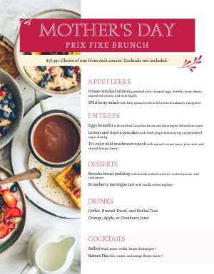 Mothers Day Menu Example