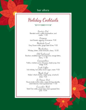 Christmas Cocktails Menu