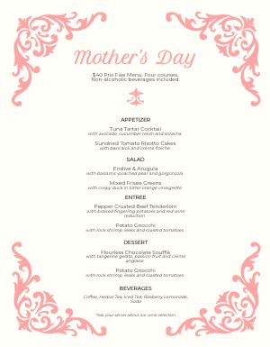 Mothers Day Filigree Menu
