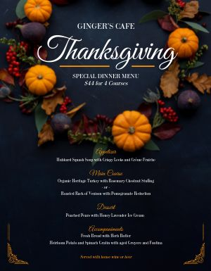 Elegant Thanksgiving Menu