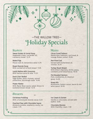 Holiday Specials Menu