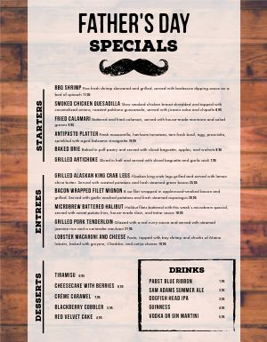 Fathers Day Specials Menu