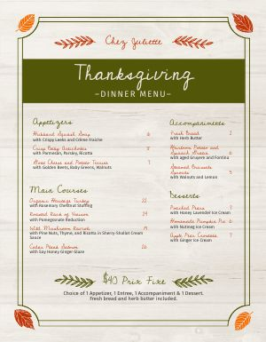 Thanksgiving Specials Menu
