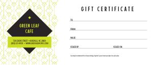Green Gift Certificate