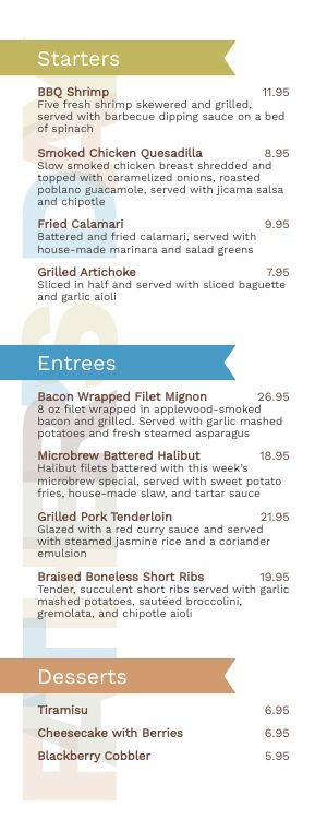 Fathers Day Special Half Page Menu
