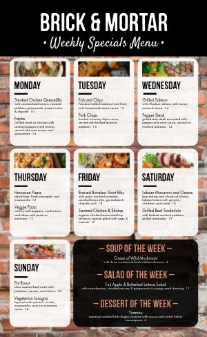 Brick Daily Specials Menu