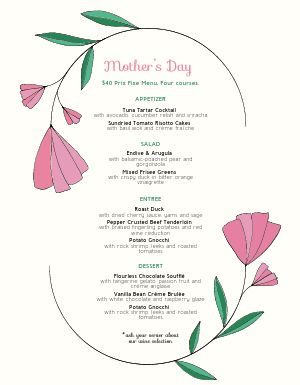 Mothers Day Tulip Menu