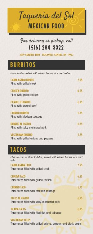 Mexican Lite Takeout Menu
