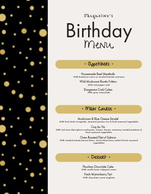 Elegant Birthday Menu