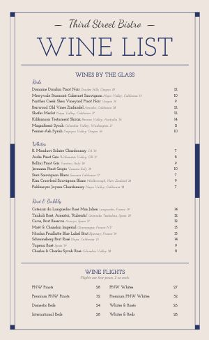 Fancy Wine List Menu
