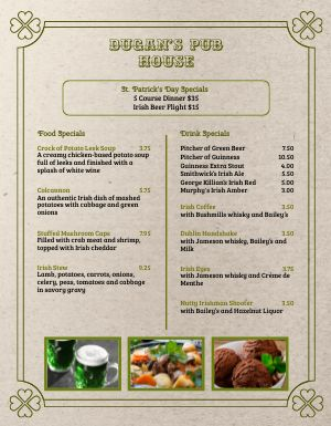 St Patricks Day Pub Menu