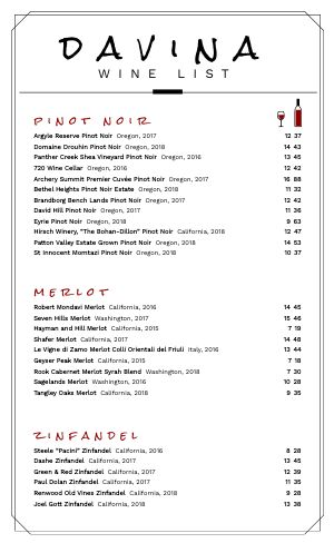 Simple Wine List Menu