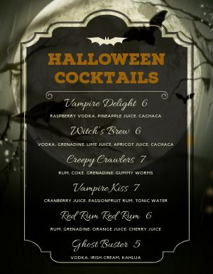 Halloween Cocktail Menu