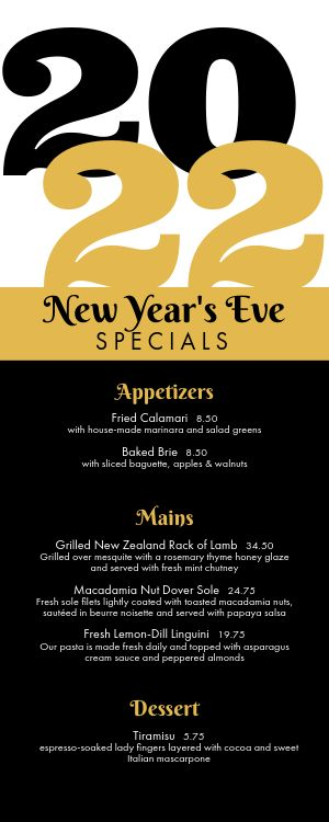 New Years Specials Half Page Menu