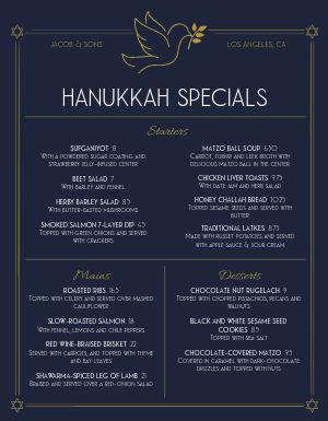Hanukkah Winter Specials Menu