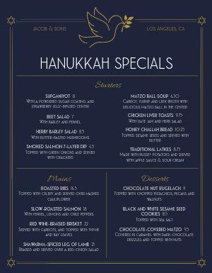 Hanukkah Winter Specials Menu