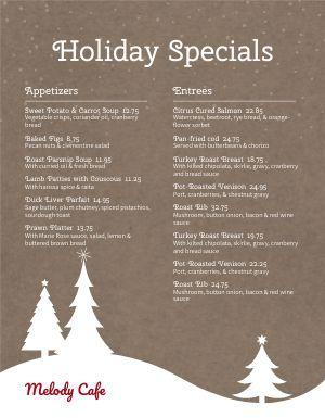 Christmas Holiday Specials Menu