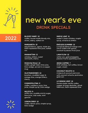 New Years Drink Specials Menu