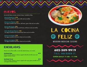 Mexican Rainbow Bifold Takeout Menu