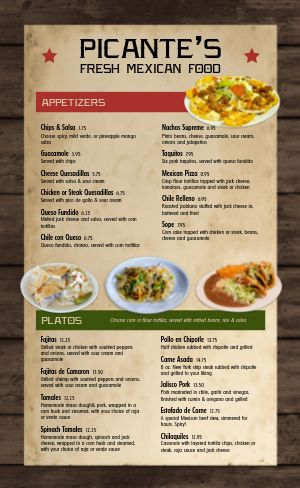 Fresh Mexican Menu