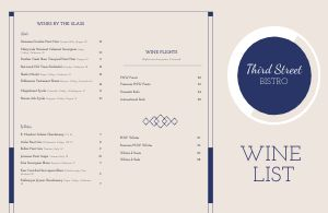 Fancy Wine List Folded Menu