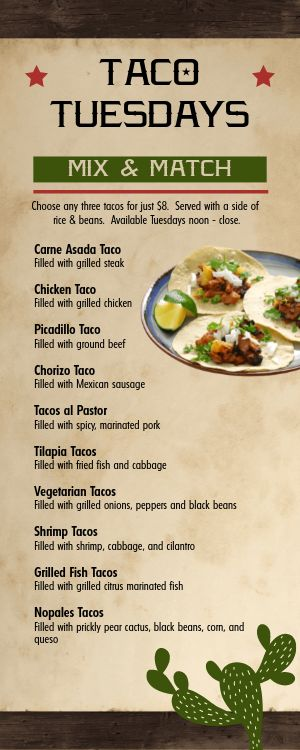 Fresh Mexican Half Page Menu